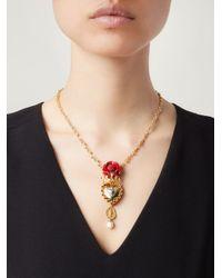Dolce & Gabbana - Metallic 'Sacred Heart' Pendant Necklace - Lyst