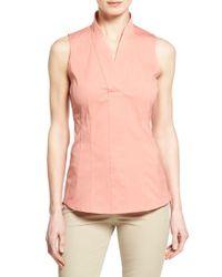 Lafayette 148 New York - Pink 'evan' Sleeveless Poplin V-neck Shirt - Lyst