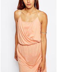 ASOS | Natural Grecian Wrap Front Mini Dress | Lyst