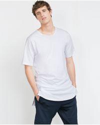 Zara | White T-shirt With Zips for Men | Lyst