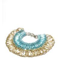 Kirsty Ward - Blue Alu Loops & Brass Rings Bracelet - Lyst