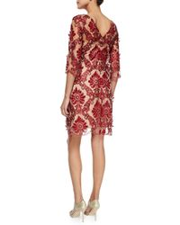 Notte by Marchesa - Red 3/4-sleeve Lace Cocktail Sheath Dress - Lyst