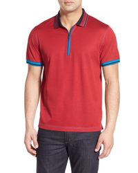 Bugatchi - Red Quarter Zip Polo for Men - Lyst