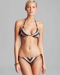 Pilyq | Multicolor Black Horizon Curvy Triangle Bikini Top | Lyst
