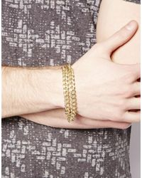 ASOS - Metallic Bracelet with Double Chain for Men - Lyst