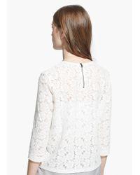 Mango | White Floral Lace T-Shirt | Lyst