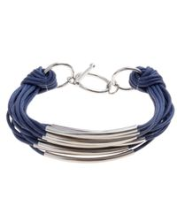 John Lewis | Blue Multi Row Cord Metal Tube Bracelet | Lyst
