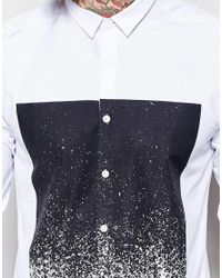 ASOS | White Shirt With Print In Long Sleeve for Men | Lyst