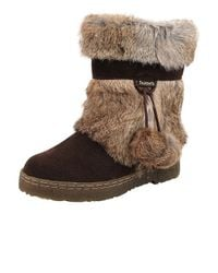 BEARPAW - Brown Tama Rabbit-Fur and Suede Ankle Boots - Lyst