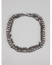 Bottega Veneta - Metallic Hammered Silver Charm Bracelet for Men - Lyst
