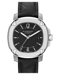 Burberry - Black Check Stamped Leather Strap Watch for Men - Lyst