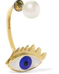 Delfina Delettrez - Metallic 9-karat Gold, Pearl And Enamel Earring - Lyst