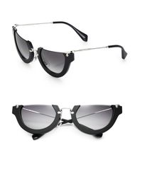 Miu Miu | Black Semi-rim 52mm Round Sunglasses | Lyst