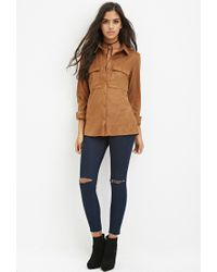 Forever 21 - Natural Faux Suede Button Shirt - Lyst