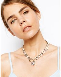 Lipsy - Pink Enamel Chain Padlock Collar Necklace - Lyst