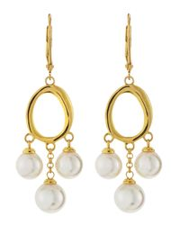 Majorica - Metallic Three-pearl Hoop-drop Earrings - Lyst