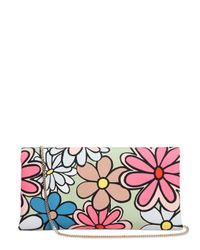 Roger Vivier | Multicolor Ines Flower Printed Cotton Canvas Clutch | Lyst