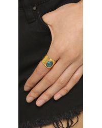 Laura Cantu - Metallic Oval Rhinestone Texturized Ring - Lyst