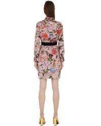 Gucci - Pink Printed Silk Georgette Shirt Dress - Lyst