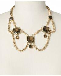 Ann Taylor - Metallic Smoky Stone Box Chain Statement Necklace - Lyst