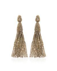 Oscar de la Renta - Metallic Long Tassel Earrings - Lyst