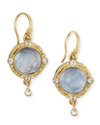 Armenta - Metallic Midnight 18k Gold Earrings With Kyanite & Diamonds - Lyst