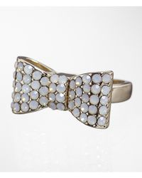 Express | Metallic Pave Bow Ring | Lyst