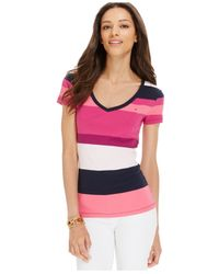 Tommy Hilfiger - Pink Striped V-neck Tee - Lyst