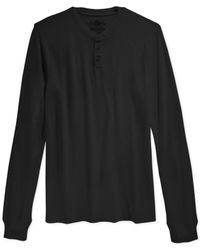American Rag | Black Thermal Henley for Men | Lyst