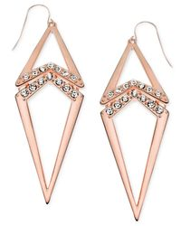 Guess | Pink Rose Gold-town Pavé Crystal Geometric Drop Earrings | Lyst