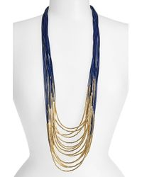 Tasha - Black Beaded Multi-cord Long Necklace - Navy/ Gold - Lyst