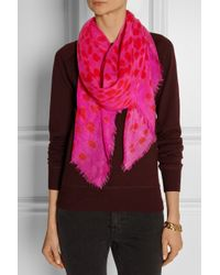 Alexander McQueen - Pink Leopard-Print Wool And Silk-Blend Scarf - Lyst