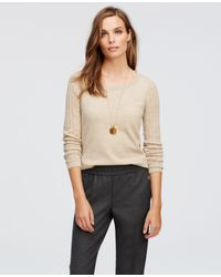 Ann Taylor - Natural Open Knit Sleeve Sweater - Lyst
