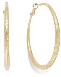 INC International Concepts | Metallic Gold-tone Disco Textured Hoop Earrings | Lyst
