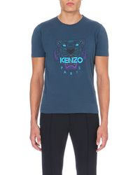 KENZO - Blue Tiger Cotton-jersey T-shirt for Men - Lyst