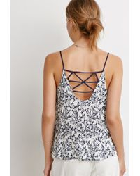 Forever 21 | Blue Floral Strappy Back Cami | Lyst