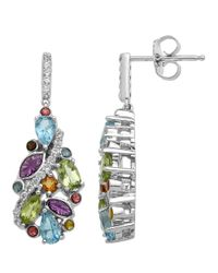 Lord & Taylor | Multicolor Sterling Silver Multi-stone Drop Earrings | Lyst
