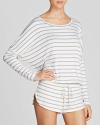 Eberjey - White Lounge Stripes Slouchy Tee - Lyst