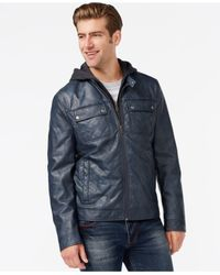 Kenneth Cole - Blue Hooded Quilted Bomber Jacket for Men - Lyst