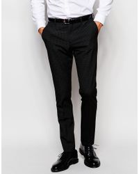 SELECTED - Black Elected Homme Mini Check Suit Trousers In Skinny Fit for Men - Lyst