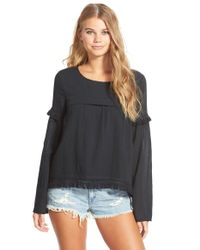Volcom | Black 'lost Highway' Fringe Long Sleeve Top | Lyst