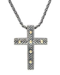 Effy | Metallic Balissima Sterling Silver And 18k Yellow Gold Cross Pendant Necklace With Diamonds | Lyst