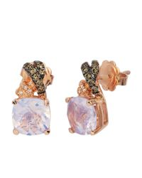 Le Vian | Pink 14k Strawberry Gold Lavender Quartz And Diamond Earrings | Lyst