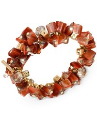 Kenneth Cole | Orange Gold-tone Shell Chip Bead Stretch Bracelet | Lyst