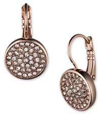 Anne Klein | Pink Rose Goldtone Glitz Drop Disc Earrings | Lyst