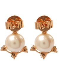 Annoushka - Pink Rose Gold Diamond And Pearl Stud Earrings - Lyst