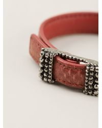 Bottega Veneta - Red Buckled Bracelet - Lyst