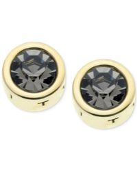 T Tahari - Black Gold-tone Essential Signature Stud Earrings - Lyst