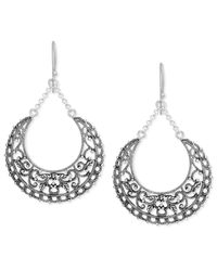 Macy's | Metallic Sterling Silver Earrings, Filigree Floral Drop Earrings | Lyst