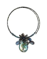 Aeravida - White Tropical Petals Peacock Abalone Shell Memory Wire Choker - Lyst
